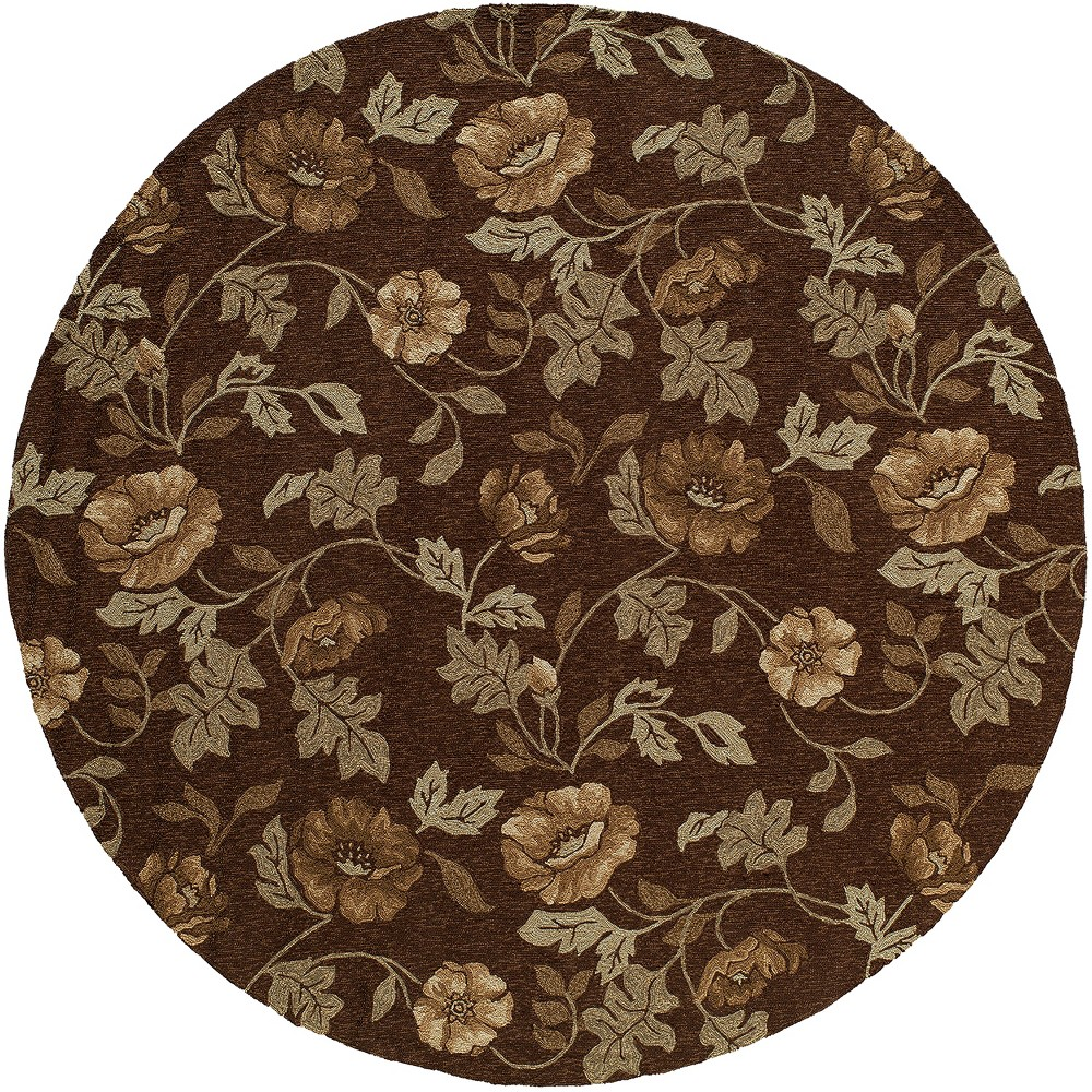 9'X9' Floral Hooked Round Area Rug Brown - Momeni
