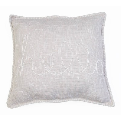 """20""""x20"""" Amy Hello Embroidered Whipstitch Pillow Ivory - Décor Therapy"""