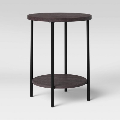 Wood and Metal Round End Table Espresso - Room Essentials™