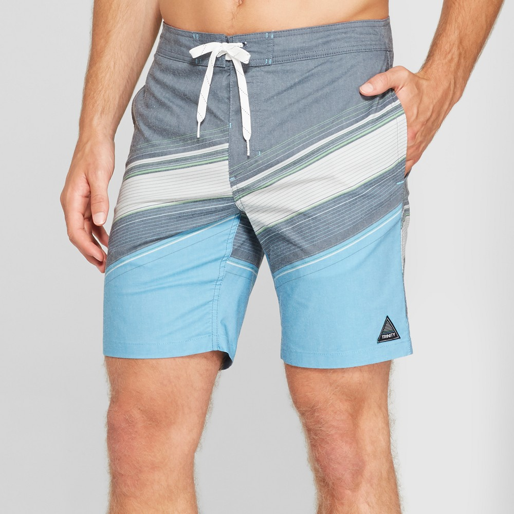 Trinity Collective Men's Striped 8.5 Digger Board Shorts - Blue 33