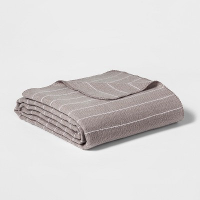 Twin Modern Acrylic Striped Bed Blanket Gray - Project 62™ + Nate Berkus™