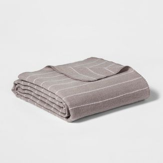 King Modern Acrylic Striped Bed Blanket Gray - Project 62™ + Nate Berkus™