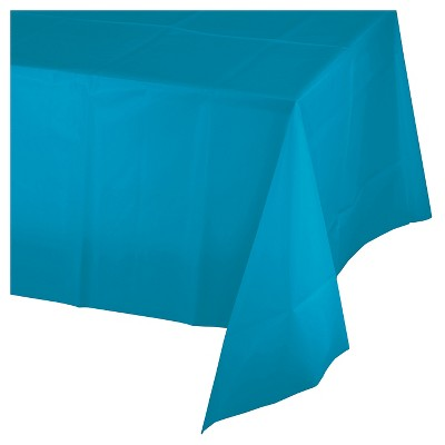 Turquoise Blue Plastic Tablecloth