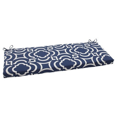 Outdoor Bench Cushion - Blue/White Geometric