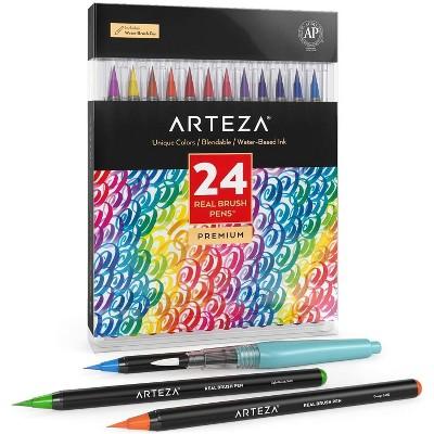 Arteza Blendable Ink Real Brush Pens Art Supply Set, Colors - 24 Piece