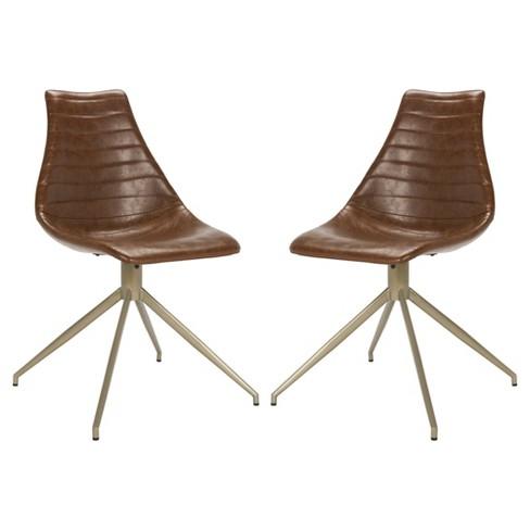Set Of 2 Lynette Midcentury Modern Leather Swivel Dining Chair Light
