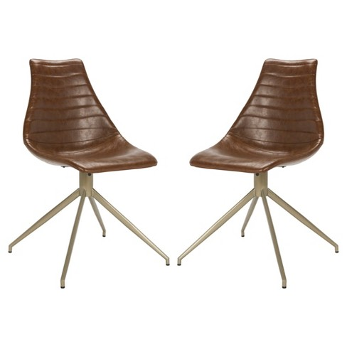 Set Of 2 Lynette Midcentury Modern Leather Swivel Dining Chair Light Brown Br Safavieh