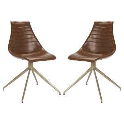 Set Of 2 Lynette Midcentury Modern Leather Swivel Dining Chair Light Brown/Brass    Safavieh