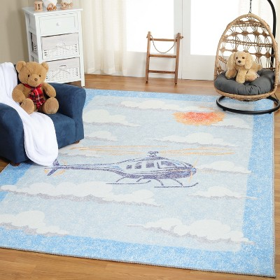 World Traveler Helicopter Flatwoven Polyester Indoor Anti-Skid Kids' Area Rug by Blue Nile Mills