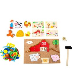 Small Foot Wooden Toys Hammer Arts And Crafts Farm Playset