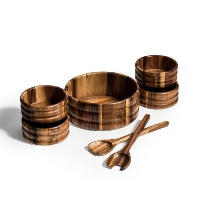 Kalmar Home 10-Inch Acacia Wood Large Skagen Salad Bowl with 4 Individuals