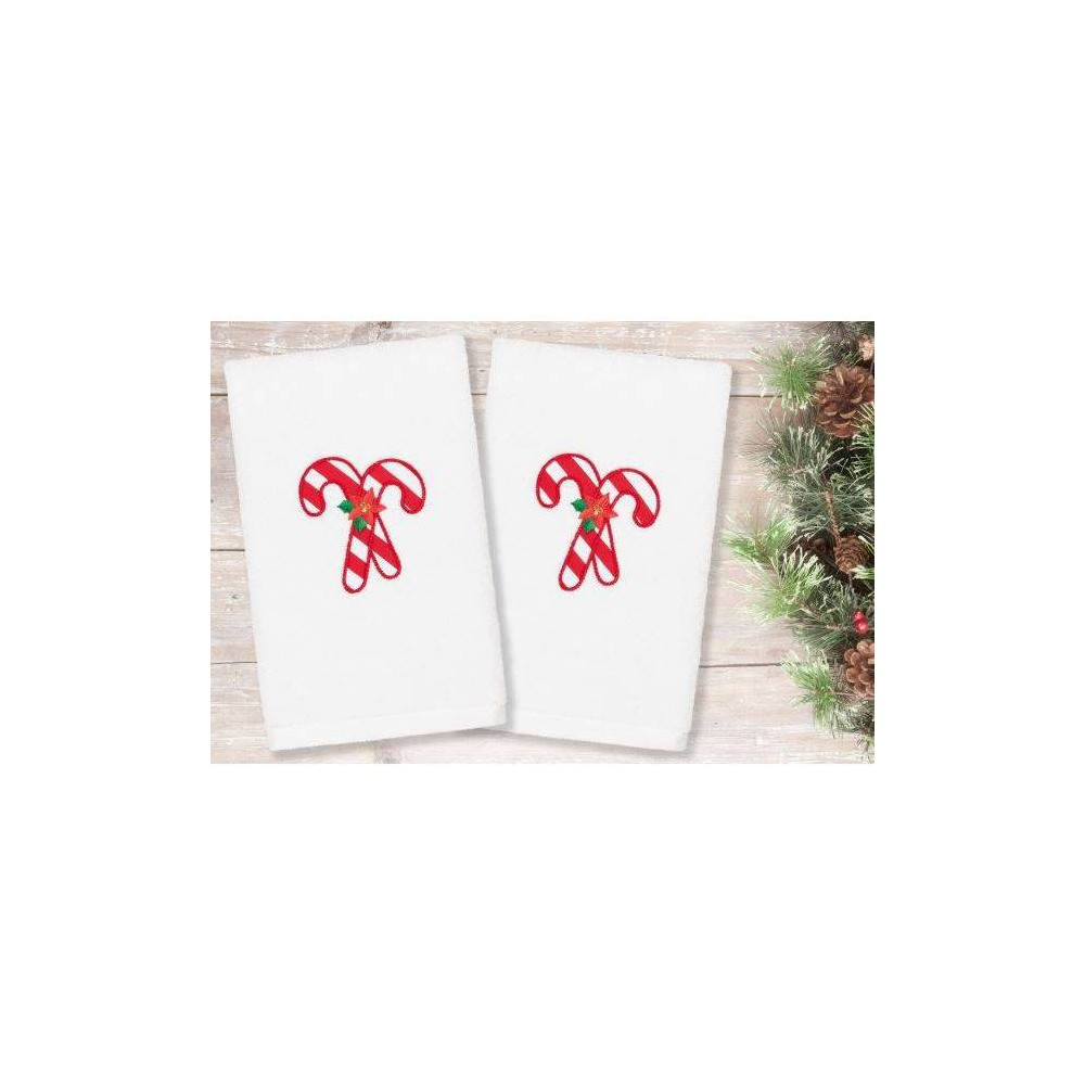 Image of 2pk Candy Canes Holiday Hand Towels - Linum Home Textiles, White