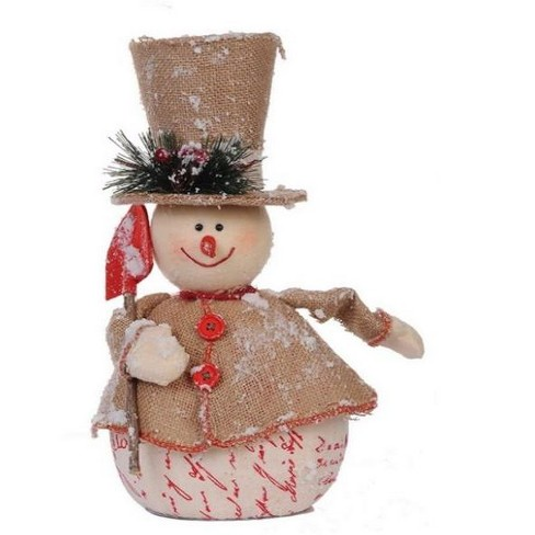 """A & B Home 13.5"""" Beige and Red Jolly Snowman with Shovel Christmas Tabletop Decor - image 1 of 3"""