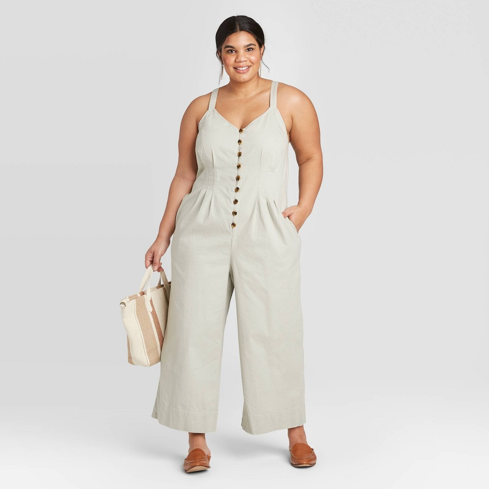 Women's Plus Size Sleeveless Button-Front Jumpsuit - Universal Thread Gray 16W, Women's was $29.99 now $20.99 (30.0% off)