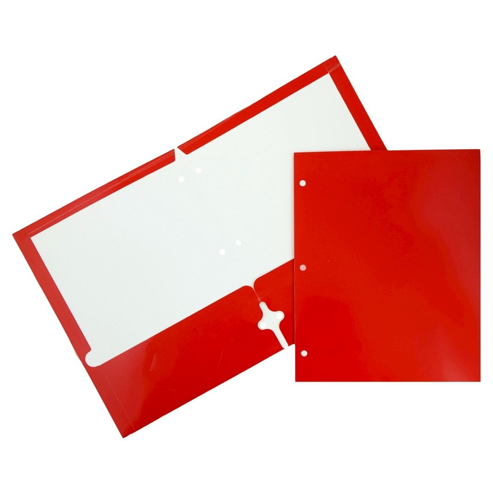 Jam Paper Glossy 3 Hole Punch Paper Folder 6pk - Red