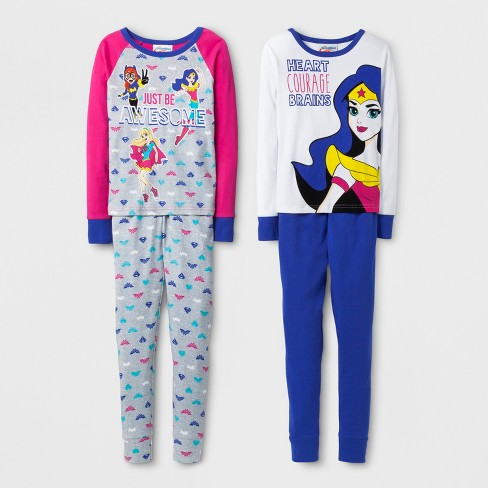 Girls  DC Comics Super Hero Girls Pajama Set - White   Target d69d8dbd2