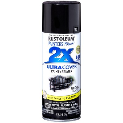 Rust Oleum Painter's Touch 2 X Ultra Cover Gloss Black Spray Paint 12oz by Oleum Painter's Touch 2 X Ultra Cover Gloss Black Spray Paint 12oz