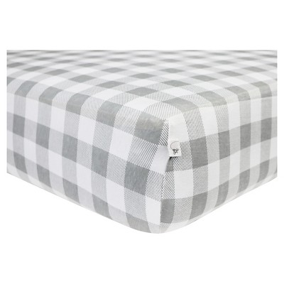 Burt's Bees Baby® Organic Fitted Crib Sheet - Buffalo Check - Fog Gray