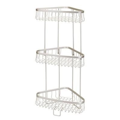 mDesign Metal 3-Tier Vertical Corner Shelf Unit for Bathroom Storage
