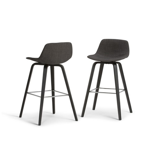 Strange Cacey Bentwood Counter Height Stool Set Of 2 Charcoal Gray Black Linen Look Fabric Wyndenhall Gmtry Best Dining Table And Chair Ideas Images Gmtryco