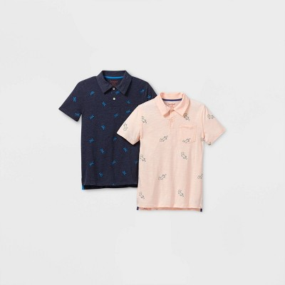 Boys' 2pk Short Sleeve Knit Polo Shirt - Cat & Jack™ Blue/Pink