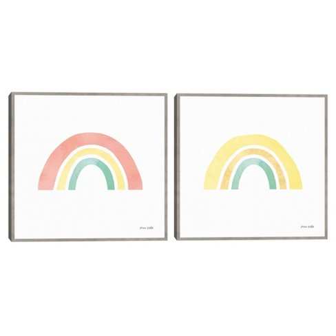Set of 2 Pastel Rainbow I & II By Anne Kelle Framed Canvas Art Prints - Masterpiece Art Gallery - image 1 of 4