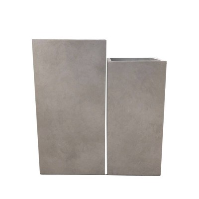 Set of 2 Kante Lightweight Outdoor Durable Square Planters Weathered Concrete Gray - Rosemead Home & Garden, Inc.