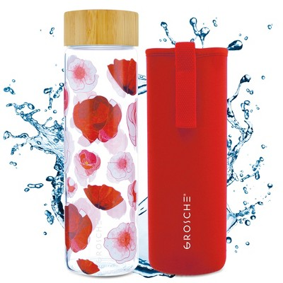 GROSCHE VENICE Eco-Friendly Glass Water Bottle with Bamboo Lid & Protective Sleeve