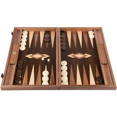 WE Games Luxury Walnut Tree-Trunk Backgammon Set - 19 inches - Handcrafted in Greece