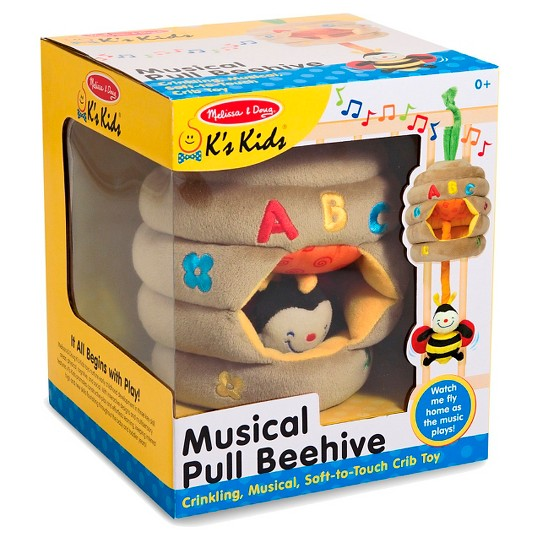Melissa & Doug K's Kids Musical Pull Beehive - Crinkling, Soft-to-Touch Crib Toy image number null