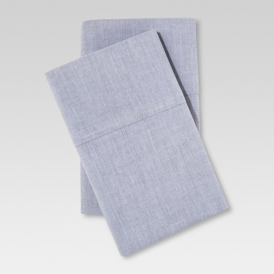 Chambray Pillowcase Set (Standard/Queen)Gray - Threshold™