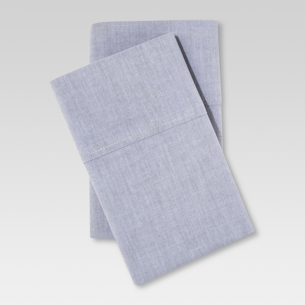 Image of Chambray Pillowcase Set (King) Gray - Threshold