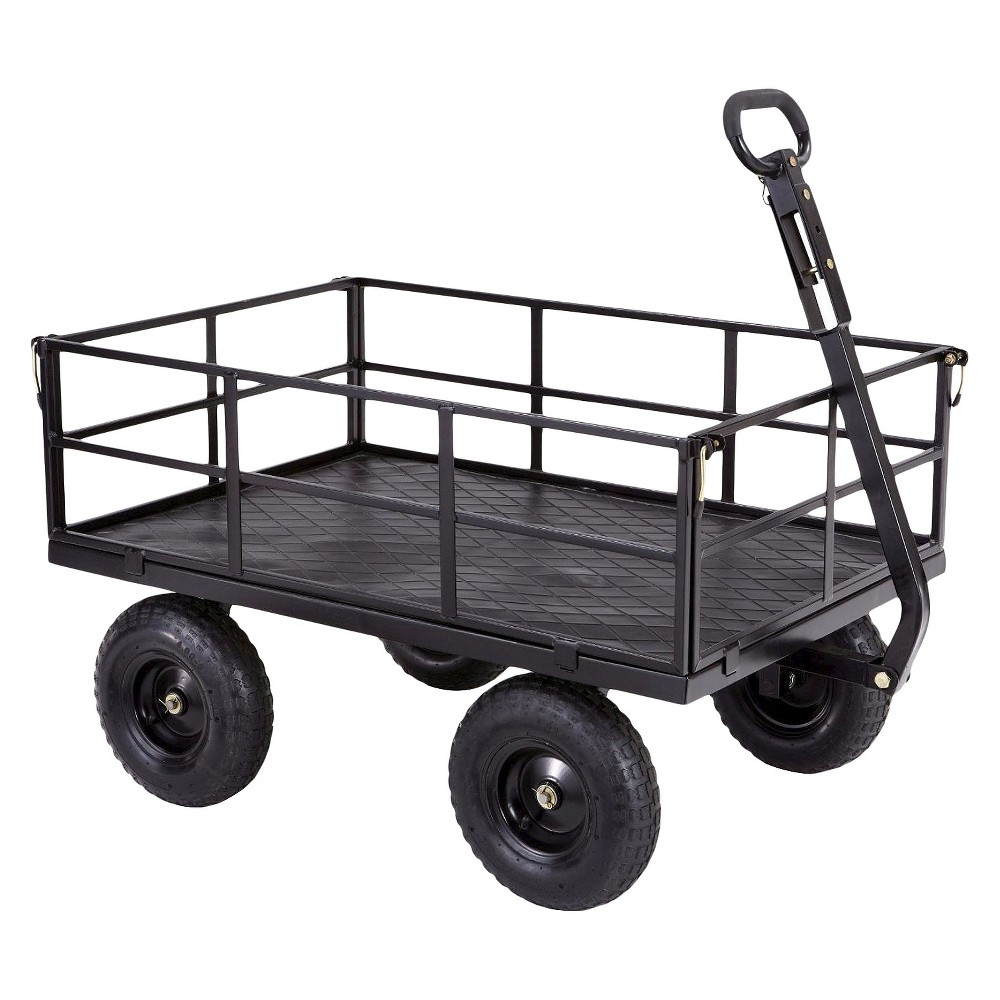 Gorilla Carts Heavy-Duty Steel Utility Cart with Removable Sides and Pneumatic Tires, 1200-Pound Capacity, Black