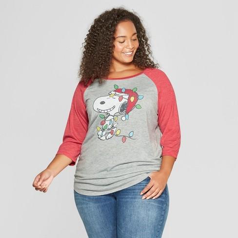 Women S Peanuts Snoopy Plus Size 3 4 Sleeve Target