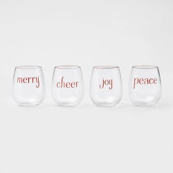 17oz 4pk Acrylic Holiday Assorted Stemless Wine Glasses - Threshold™