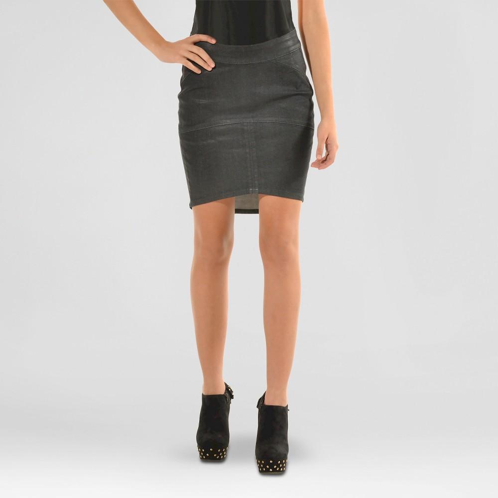 s&p by standards & practices Women's Premium Coated Denim Mini Skirt - Black 29