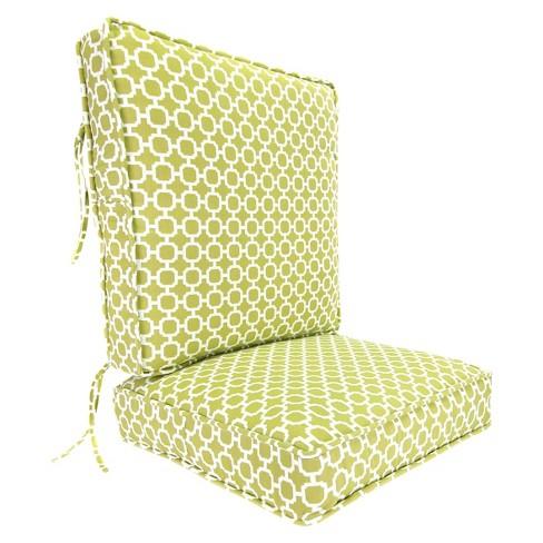Outdoor Deep Seat Back Chair Cushion Green White Geometric