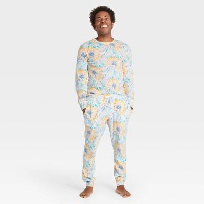 Men's Tie-Dye Print 100% Cotton Matching Family Pajama Set - Teal