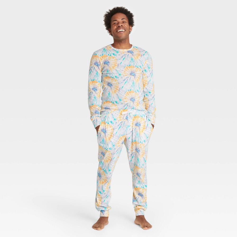 Men 39 S Tie Dye Print 100 Cotton Matching Family Pajama Set Teal S