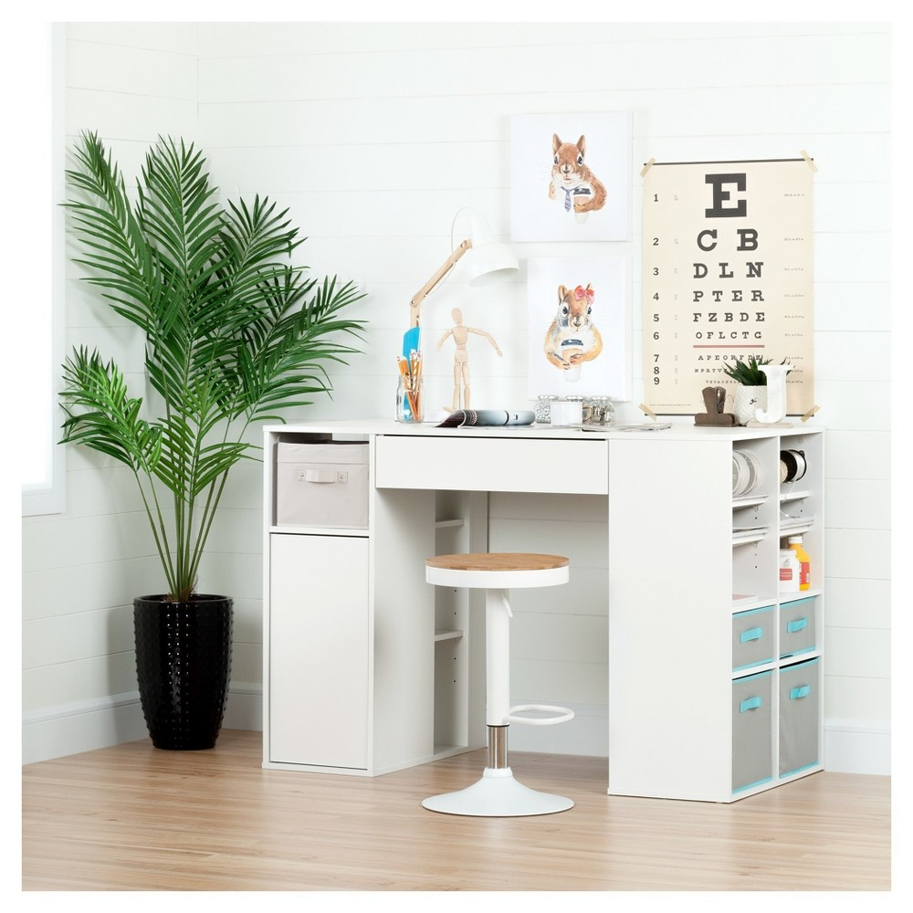 Crea Counter - Height Craft Table and Stool Set - Pure White - South Shore