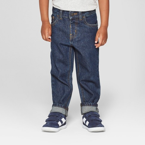 Toddler Boys' Relaxed Straight Jeans - Cat & Jack™ Dark Blue - image 1 of 3