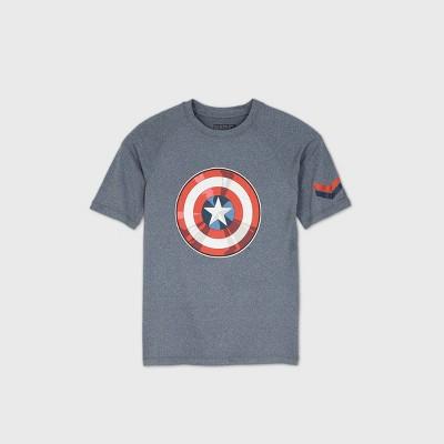 Boys' Marvel Captain America Rash Guard Swim Shirt - Gray