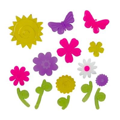 Northlight Pink and Purple Flowers Spring Gel Window Clings