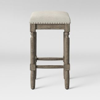 Erving Wood and Upholstered Backless Counter Stool Taupe - Threshold™