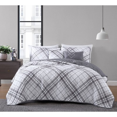 Khalvin Plaid 5pc Quilt - Geneva Home Fashion