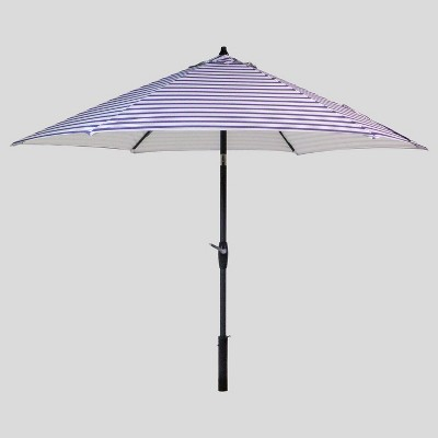 9' Round Coastal Stripe Patio Umbrella DuraSeason Fabric™ Blue - Black Pole - Threshold™