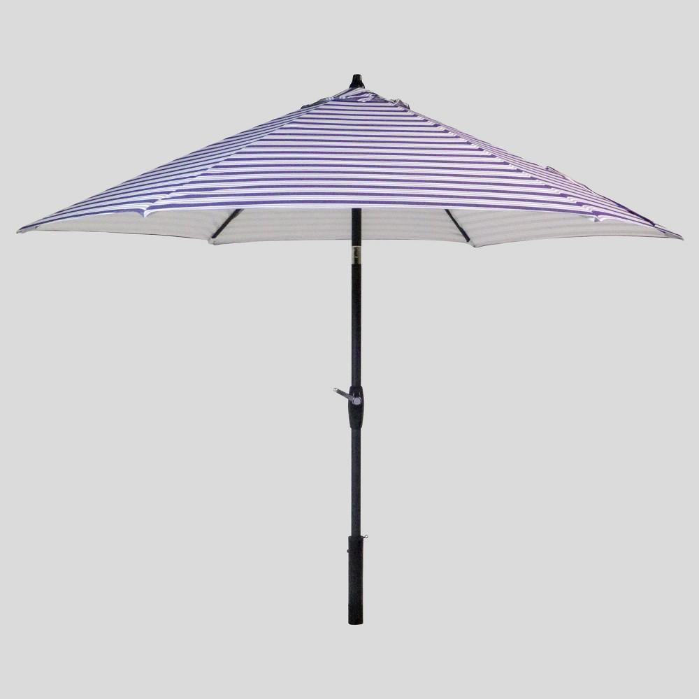 9 39 Round Coastal Stripe Patio Umbrella Duraseason Fabric 8482 Blue Black Pole Threshold 8482