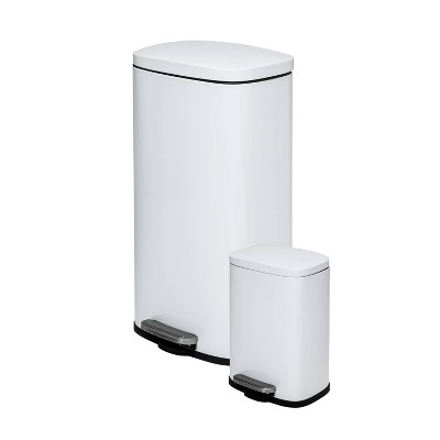 Honey-Can-Do 30L-5L Rectangular Step Trash Can Combo White