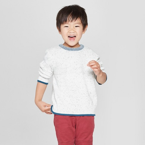 Toddler Boys' Crew Neck Long Sleeve Pullover Sweater - Cat & Jack™ Cream - image 1 of 3