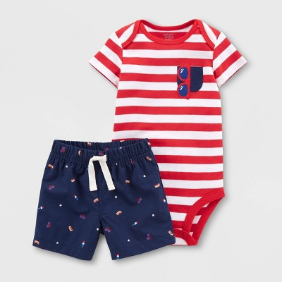 Baby Boys' Stripe Top and Bottom Set - Just One You® made by carter's Red 18M